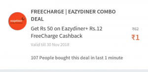 (Loot)Freecharge Deal: Get Rs.12 Recharge Free + Rs.50 Off on EasyDiner