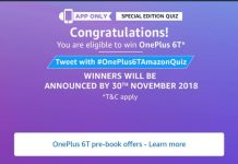 Amazon One Plus 6T Quiz - Answer & win One Plus 6T