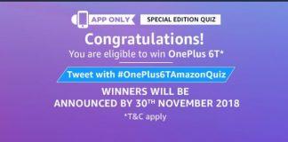 AmazonOne Plus 6T Quiz - Answer & win One Plus 6T