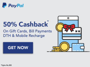 Haptik Paypal Offer - Get Recharge, Gift Cards in 50% Cashback with Paypal