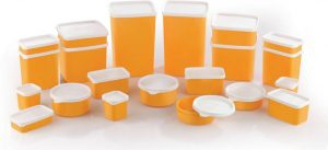 Mastercook Grocery Container (Pack of 21, Yellow, White) at Rs.269 only