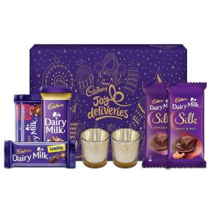 Buy Cadbury Assorted Chocolate Gift Pack, 275g - with Glass Diyas Inside in Just Rs.330 Worth Rs.770