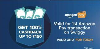 Amazon Swiggy Offer - Get 100% Cashback Upto Rs.150 On Swiggy