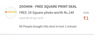 (Loot Lo) Zoomin Offer - Get Free 24 Square Photos Worth Rs.149