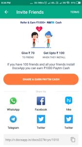 Docs App - Refer & Earn Rs.70 on Sign up & Rs.10/Per Refer Paytm Cash