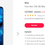 (Loot)Buy Vivo Nex 128 GB (Black) 8 GB RAM, Dual SIM 4G in Just Rs.27390