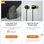 (Sale @12)Realme ₹1 Flash Sale- Get Tech Backpack In Just ₹1