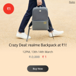 Realme Backpack at Rs.1 Sale Time - 12 PM Buy Now