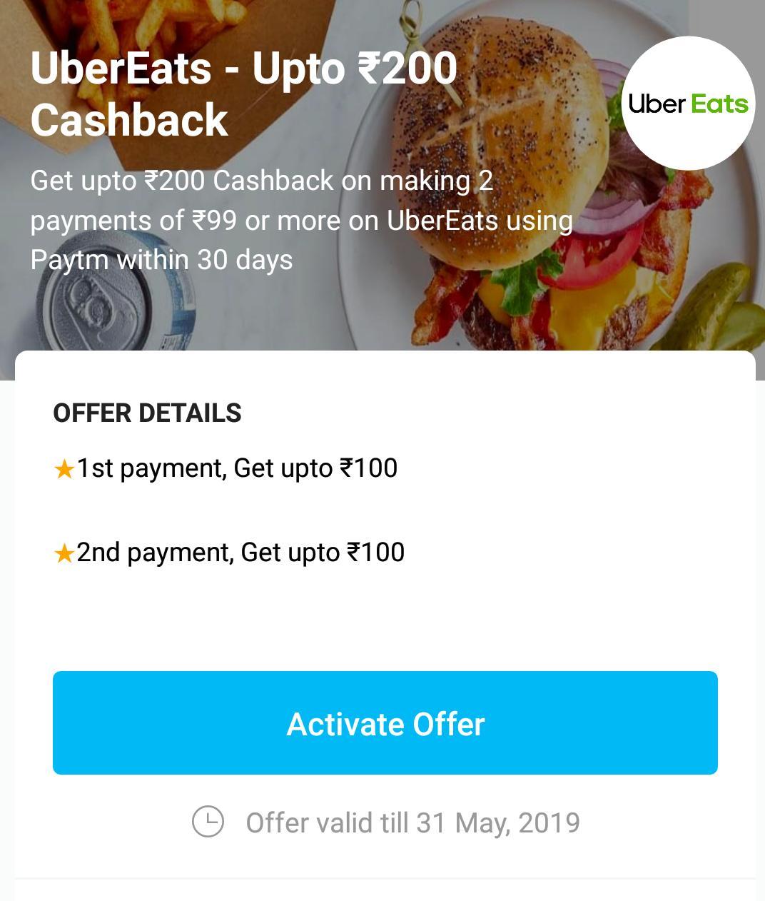 PayTM Ubereats Offer