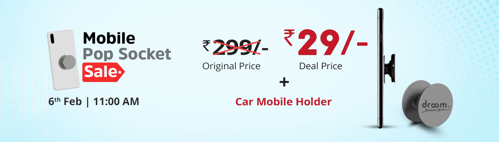 DroomMobile Pop Socket Sale- GetMobile Pop Socket Worth Rs.299 in Rs.29