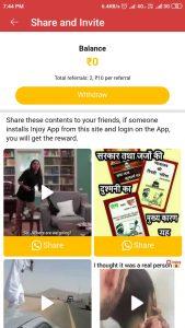 (Instant Redeem) Injoy App - Get Rs.10 on Per Refer on No Minimum Amount