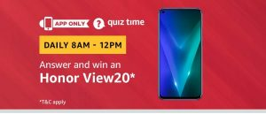 (All Answers) Amazon Honor View20 Quiz - Answer & Win Honor View20