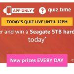 Amazon Quiz 28th February Answers - Win Seagate 5TB Hard Drive
