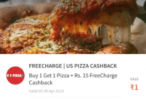 Freecharge Loot: Buy 1 Get 1 at US Pizza + Rs.15 Free Recharge in Just Rs1