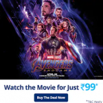 Get 100% Cashback up to Rs.250 on Avengers: End Game Movie