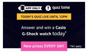 Amazon 28th March Quiz Answers - WinCasio G-Shock Watch