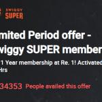 Swiggy Super Membership - Get Membership in Just Rs.1 with Timesprime