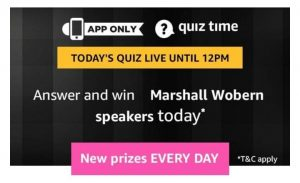 Amazon 19th April Quiz Answers - Win Marshall Woburn Speakers