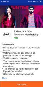 Get 3 Month Viu Free Subscription from Flipkart App