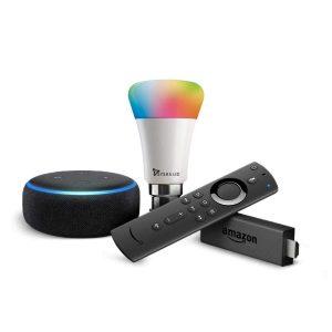 Echo Dot + Fire TV Stick with Syska 9W smart bulb