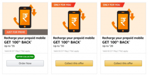 Amazon Recharge Offer - 100% Cashback Of ₹30/50/75 | Live For This Month