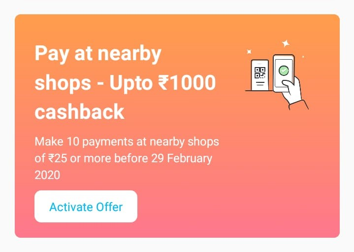 PayTM scan & Pay Offer