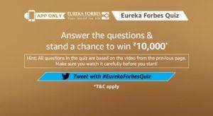 Amazon Eureka Forbes Quiz Answers – Win Free ₹10000 Amazon Pay Balance