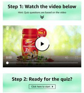 Amazon Dabur Quiz Answers