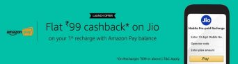 Amazon jio Offer- Flat Rs. 99 Cashback on Jio recharge from Amazon.