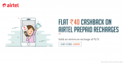 Airtel Freecharge Offer – Get Rs.40 Cashback on Airtel Recharge