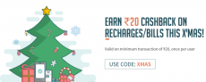 Freecharge XMAS Offer – Get Free Rs.20 Recharge (100% Cashback)