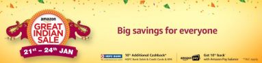 (21st Jan – 24th Jan)Amazon great Indian Sale 2018 – heavy Discounts + Additional Offers