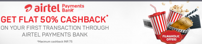 Airtel Payment Bank Offer – Get 50% Cashback on Movie Tickets from BMS