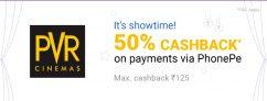PhonePe PVR Offer – Get 50% Cashback up to Rs.125