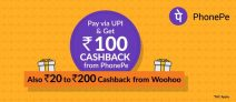 Woohoo PhonePe Offer – Pay with PhonePe UPI and get Rs.100 + Woohoo Cashback